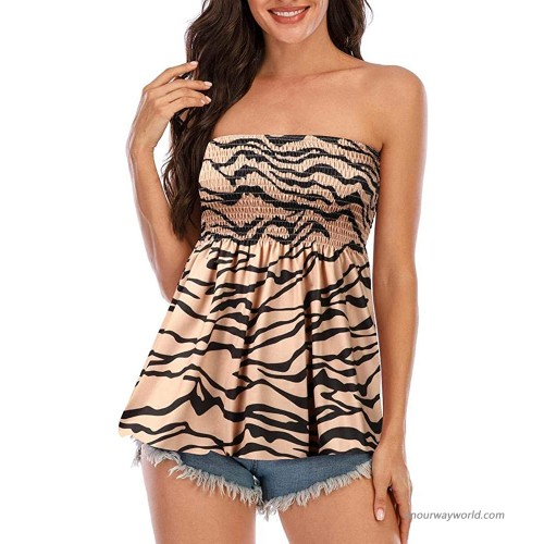 YYW Women's Holiday Floral Print Strapless Pleated Tube Top Sleeveless Tunic Tiger print L at  Women's Clothing store
