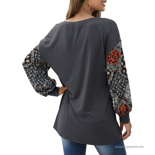 ZDZDY Women's Casual Long Sleeve Oversized Sweatshirts Fall Round Neck Floral Print Tunic Tops Shirts at Women's Clothing store